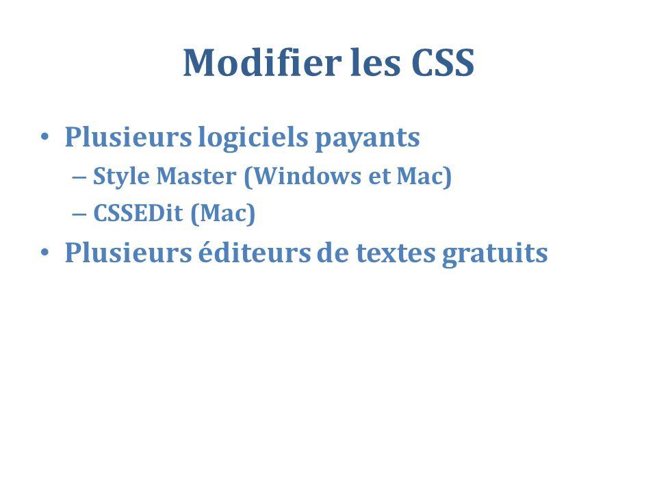 Modifier les CSS Plusieurs logiciels payants