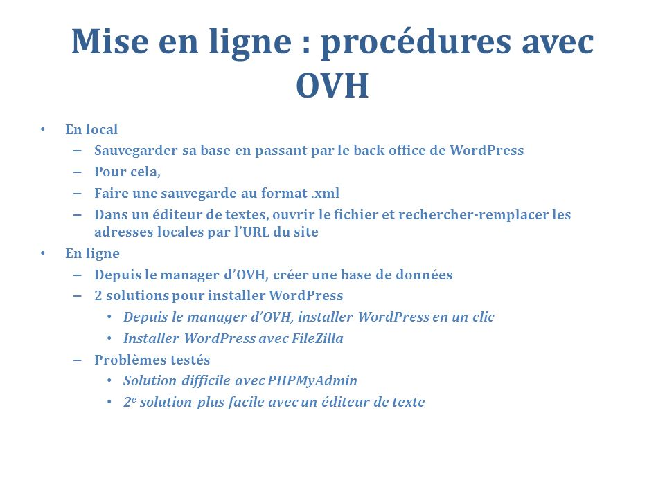 Mise en ligne : procédures avec OVH