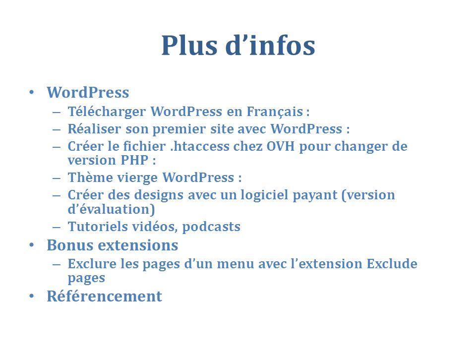 Plus d'infos WordPress Bonus extensions Référencement