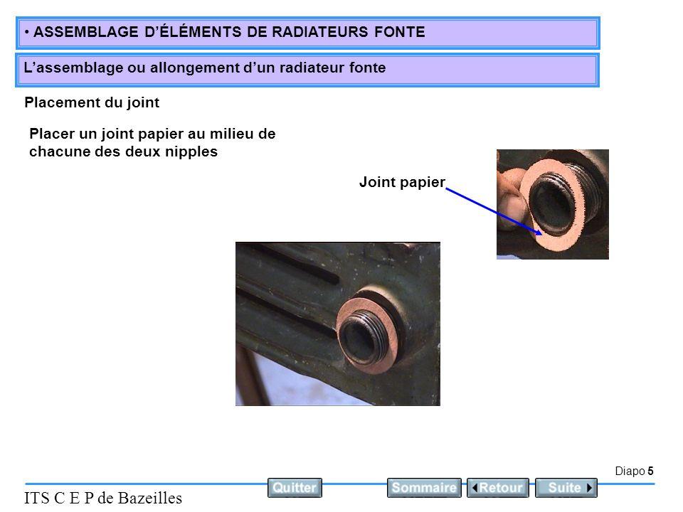 Placement du joint Placer un joint papier au milieu de chacune des deux nipples Joint papier