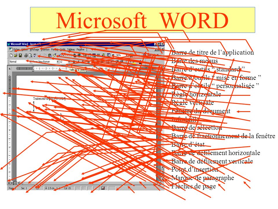 Microsoft WORD Barre de titre de l'application Barre des menus