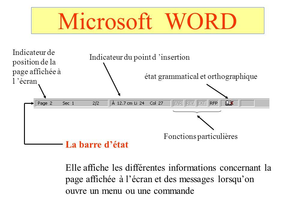 Microsoft WORD La barre d'état