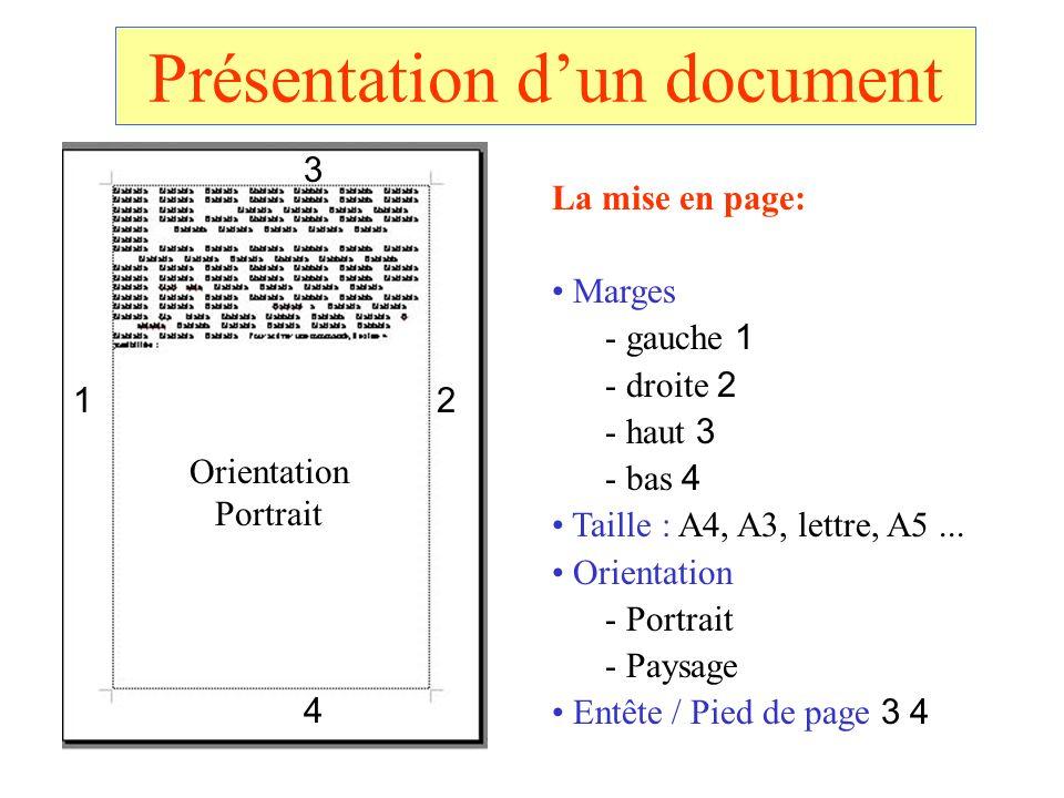 Présentation d'un document