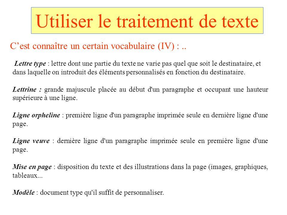Utiliser le traitement de texte