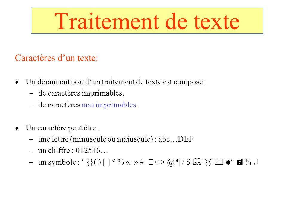 Traitement de texte Caractères d'un texte: