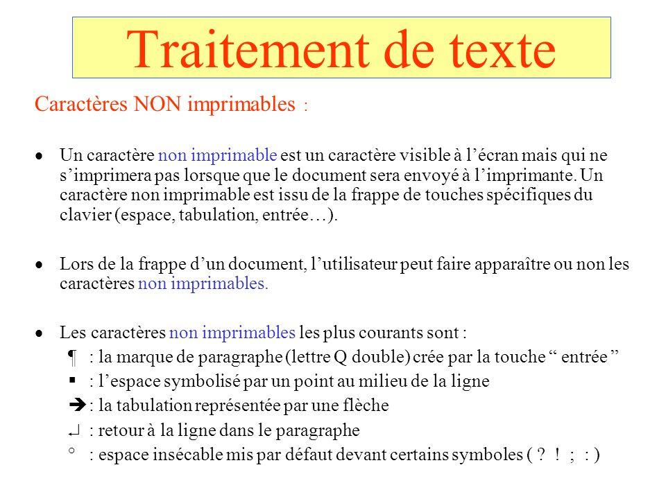 Traitement de texte Caractères NON imprimables :
