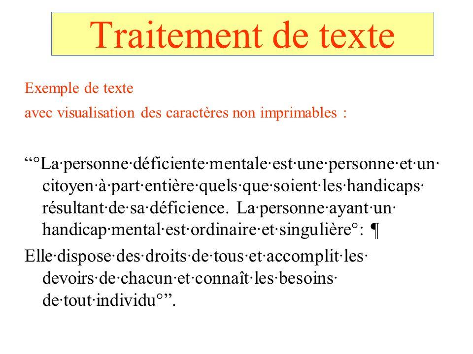 Traitement de texte Exemple de texte. avec visualisation des caractères non imprimables :