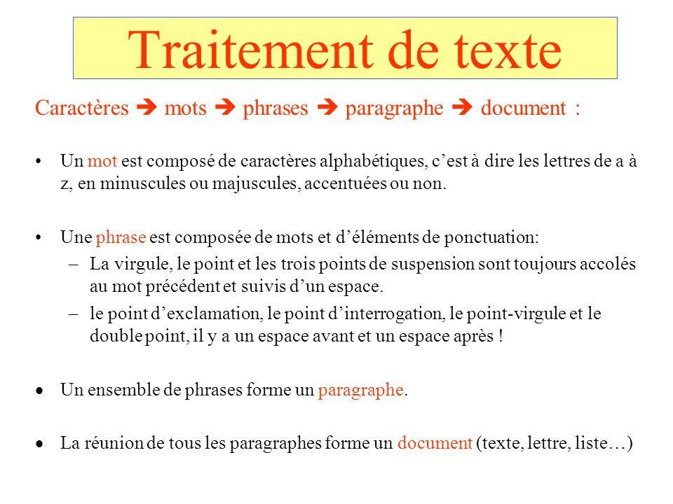 Traitement de texte Caractères  mots  phrases  paragraphe  document :