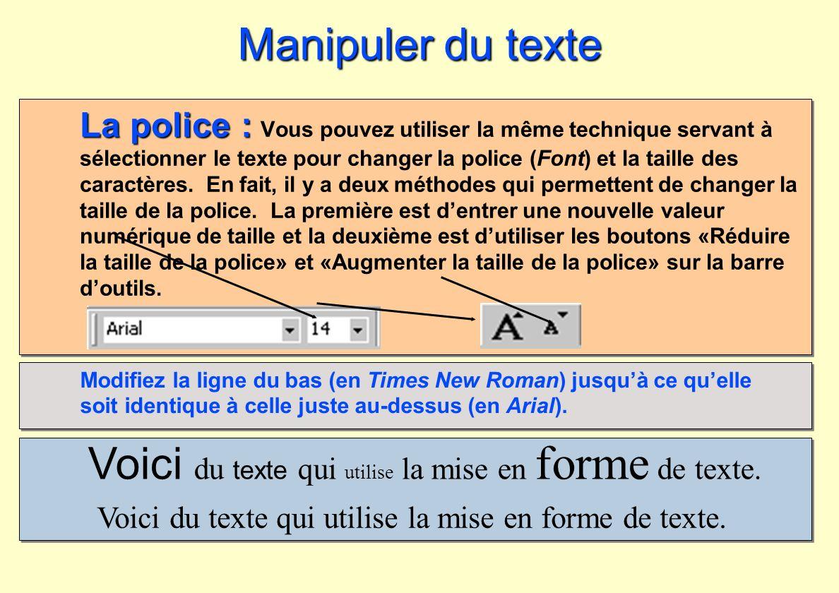 Voici du texte qui utilise la mise en forme de texte.