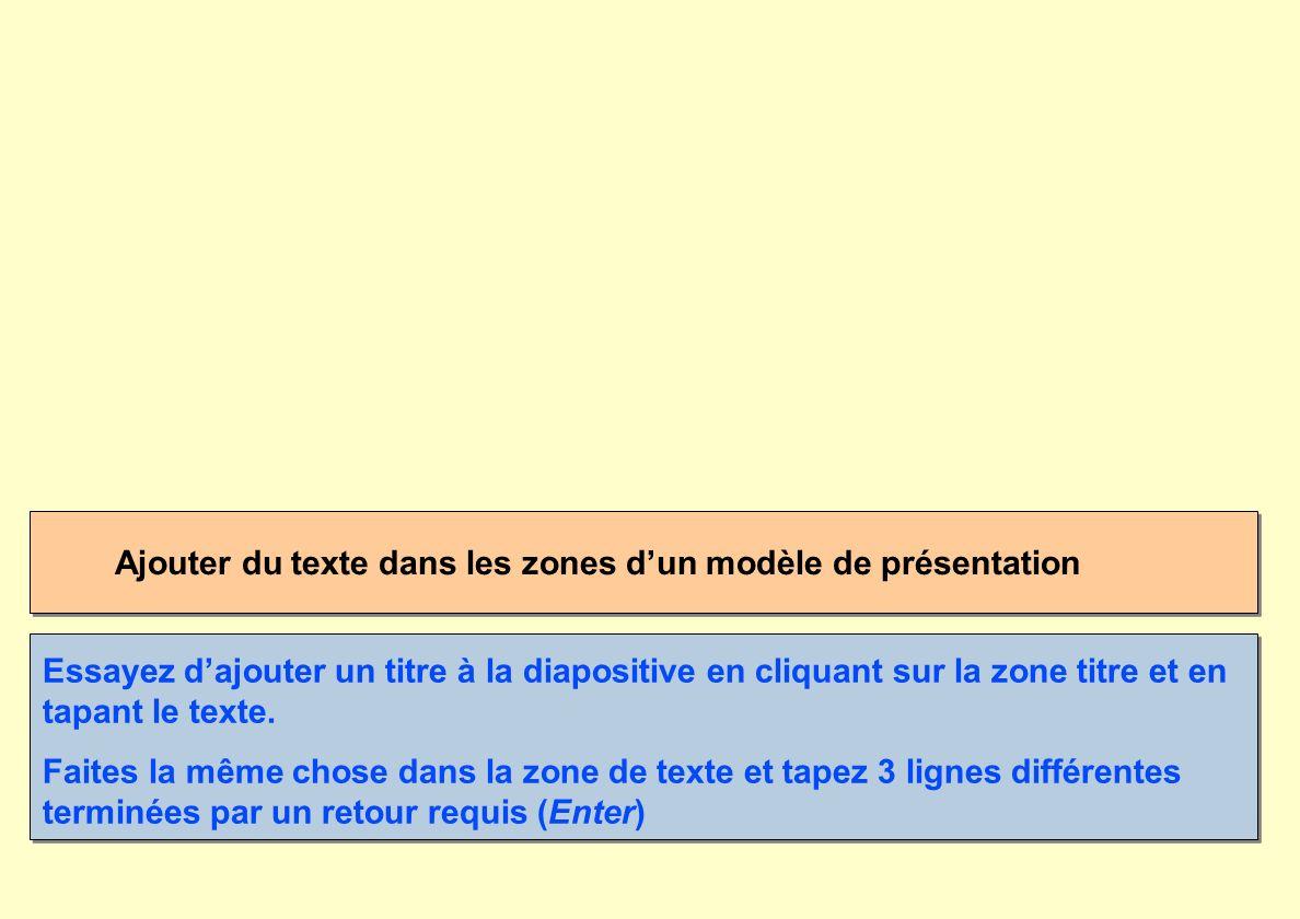 Ajouter du texte dans les zones d'un modèle de présentation