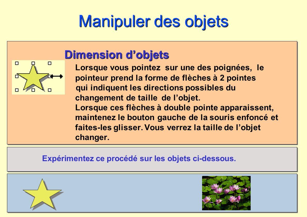 Manipuler des objets Dimension d'objets