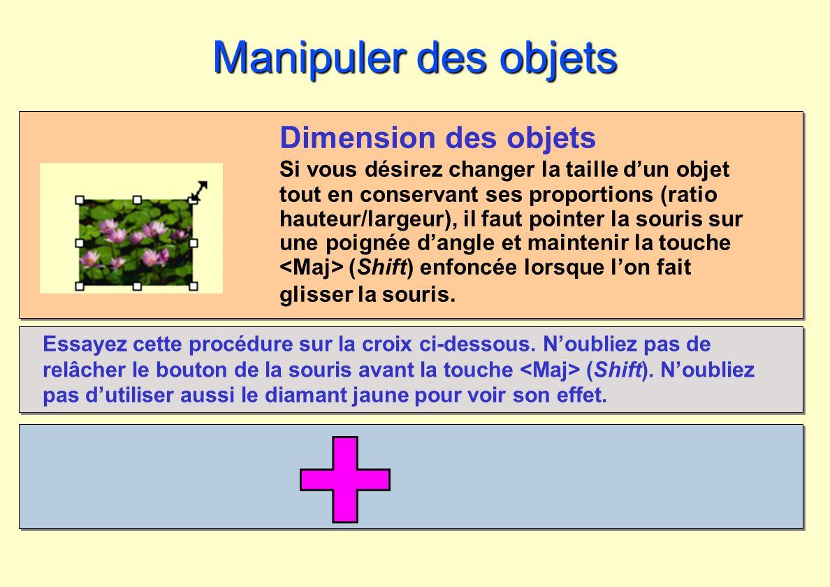 Manipuler des objets Dimension des objets