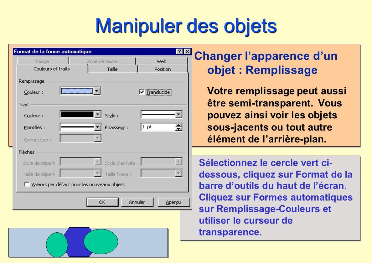 Manipuler des objets Changer l'apparence d'un objet : Remplissage