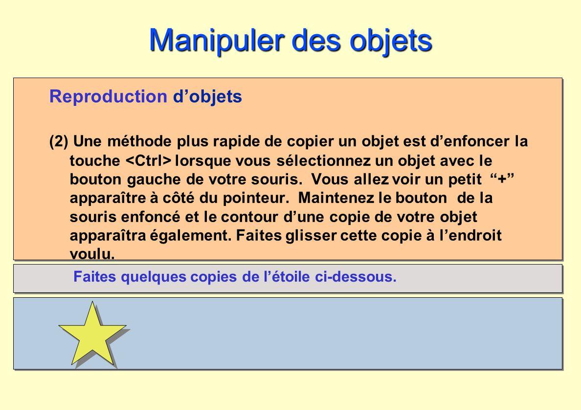 Manipuler des objets Reproduction d'objets