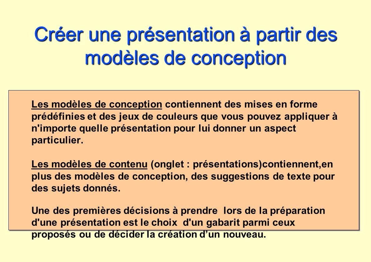 Créer une présentation à partir des modèles de conception