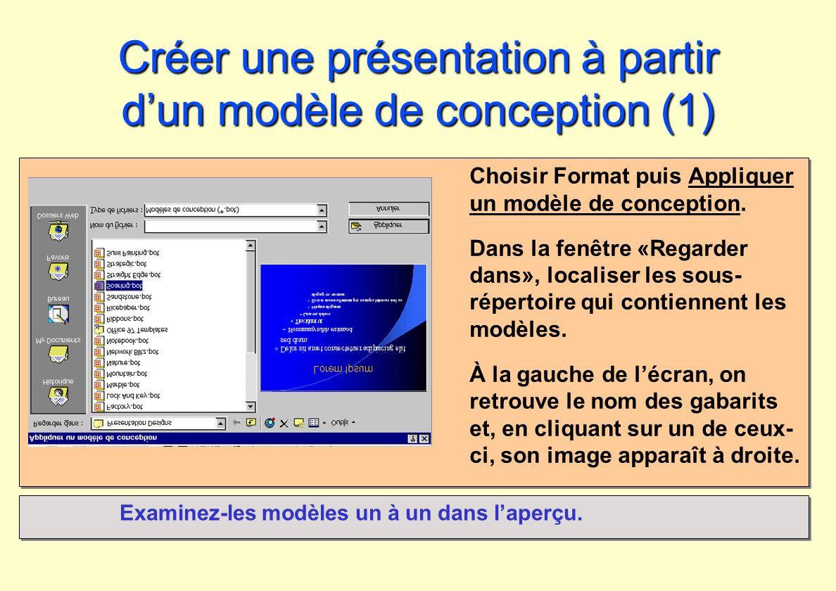Créer une présentation à partir d'un modèle de conception (1)