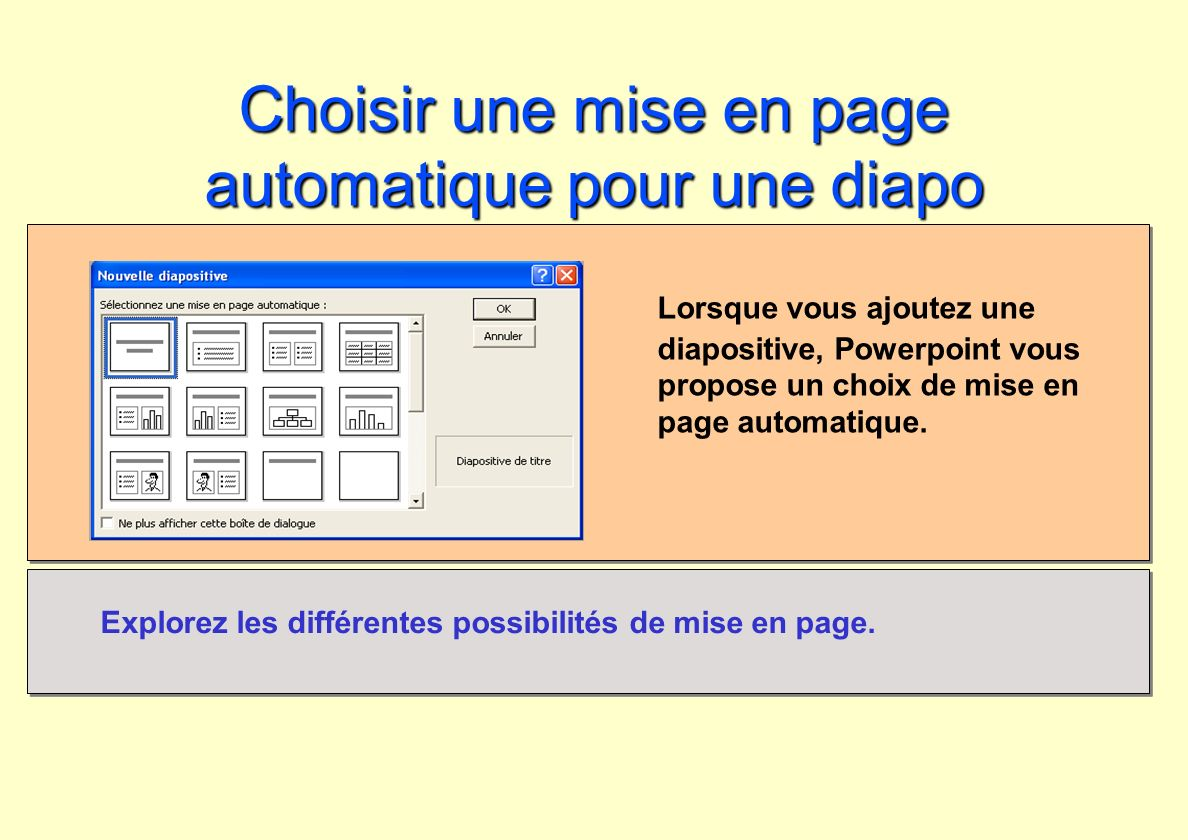 Choisir une mise en page automatique pour une diapo