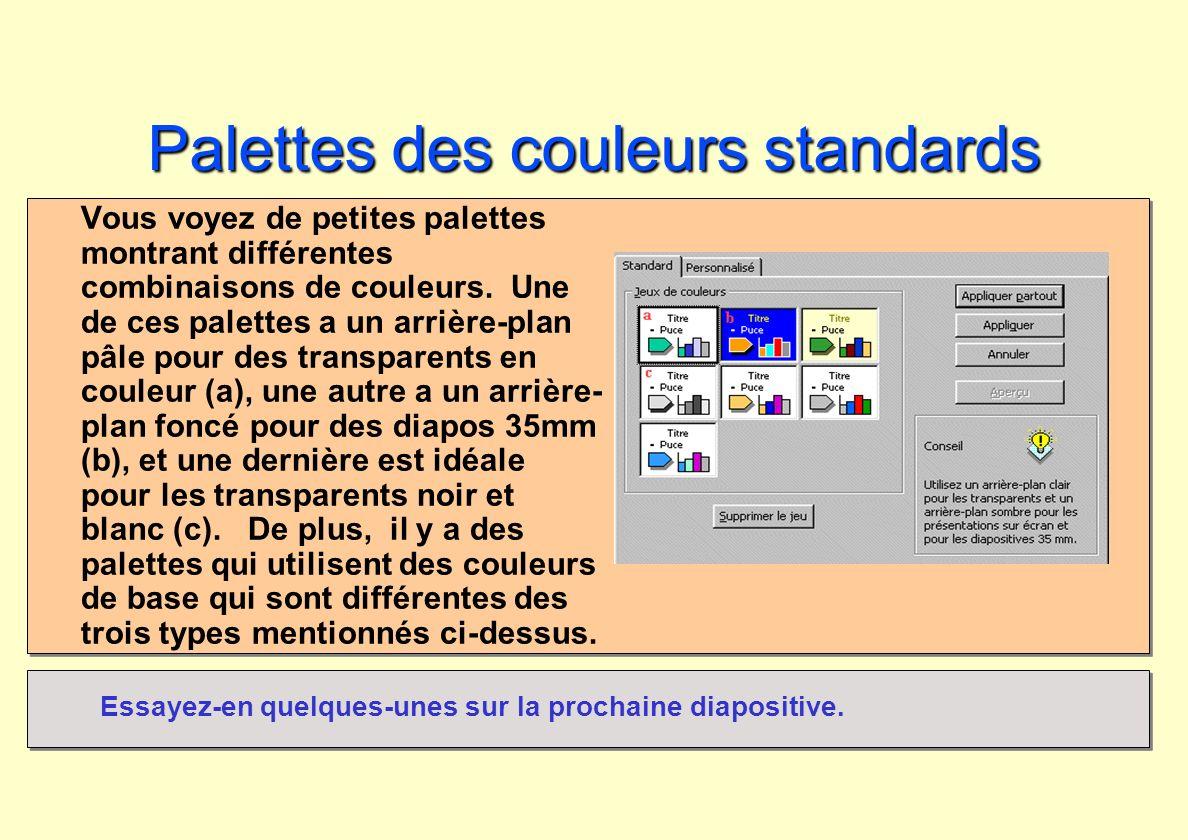Palettes des couleurs standards