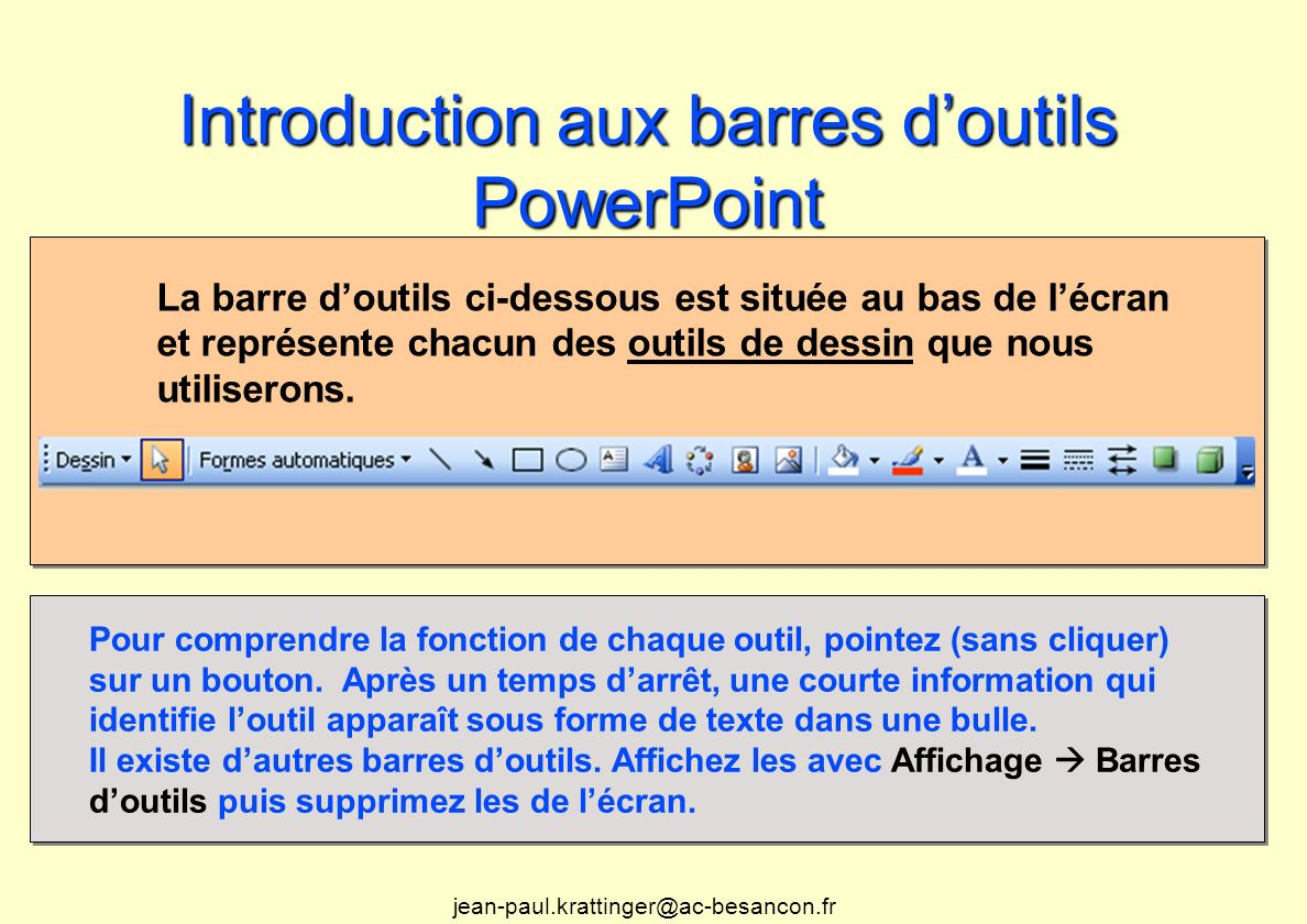 Introduction aux barres d'outils PowerPoint
