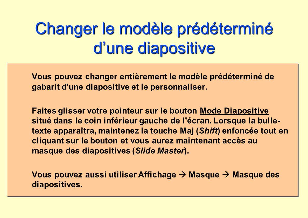 Changer le modèle prédéterminé d'une diapositive