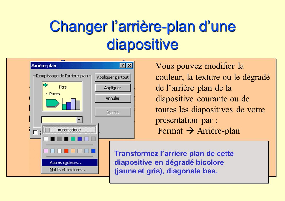 Changer l'arrière-plan d'une diapositive