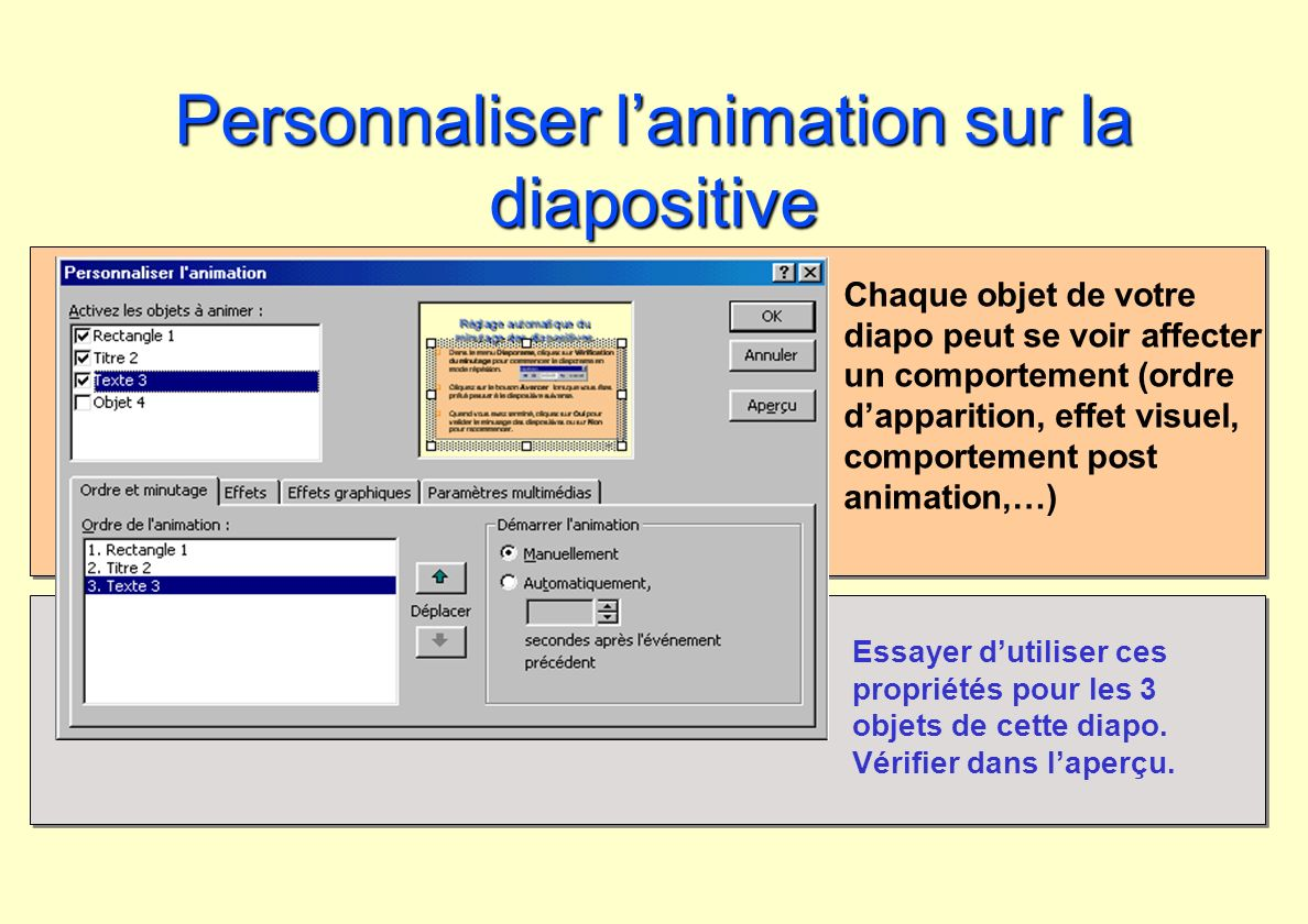 Personnaliser l'animation sur la diapositive