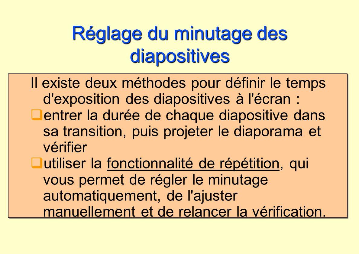 Réglage du minutage des diapositives