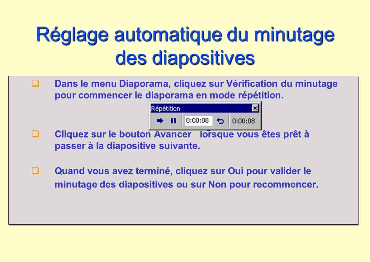 Réglage automatique du minutage des diapositives