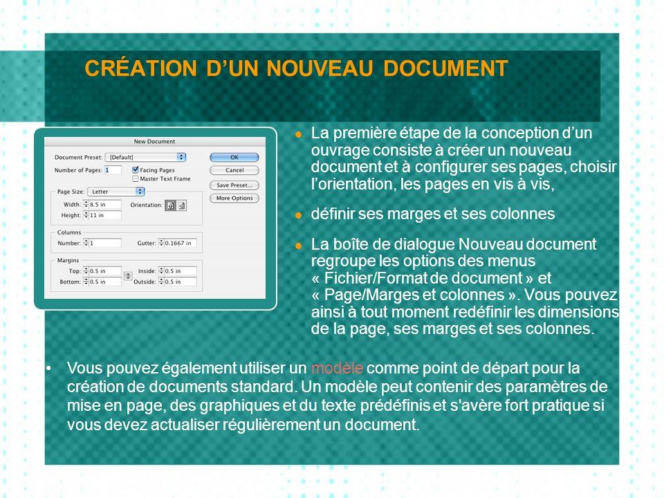 CRÉATION D'UN NOUVEAU DOCUMENT