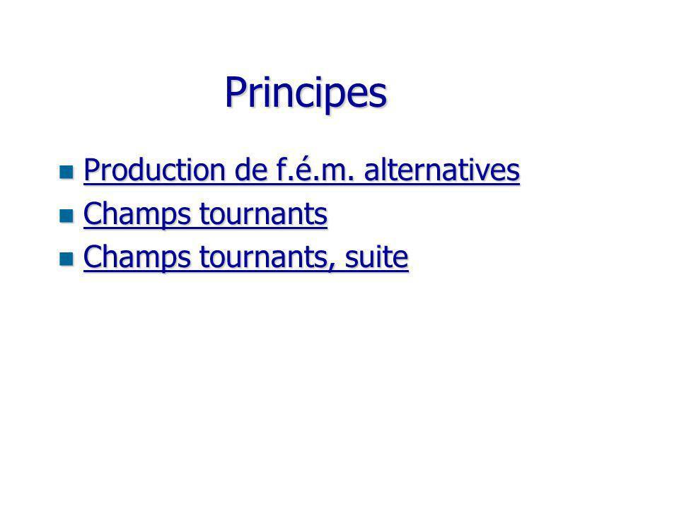 Principes Production de f.é.m. alternatives Champs tournants