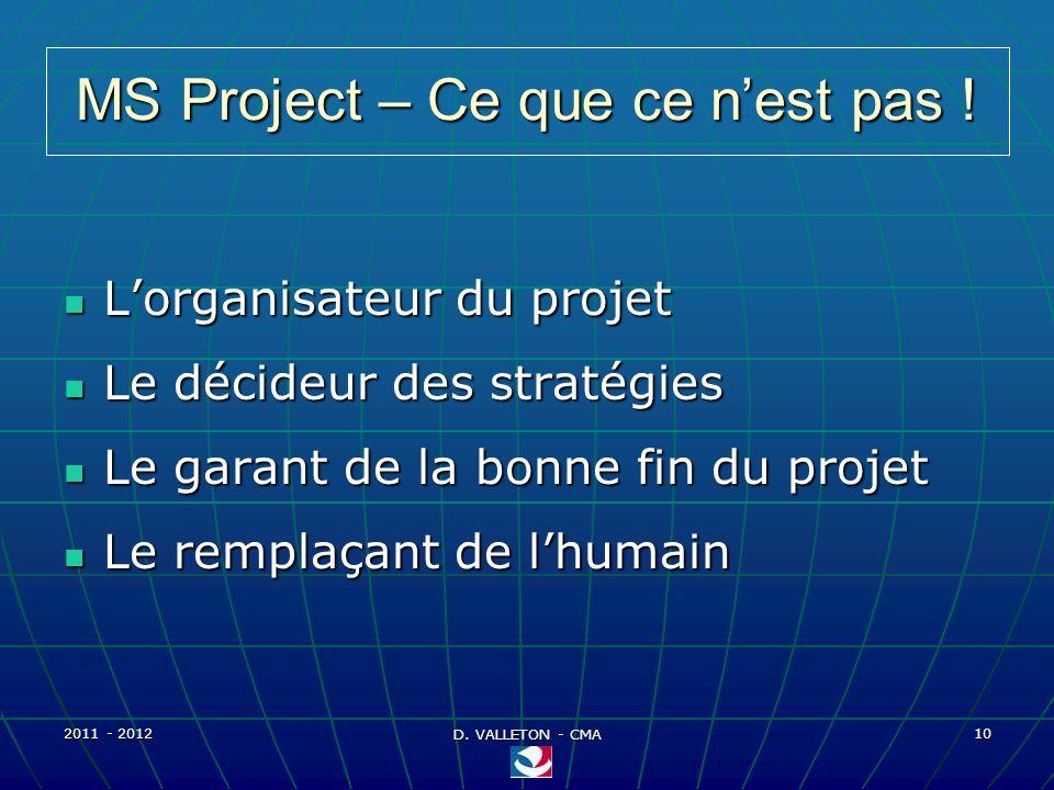 MS Project – Ce que ce n'est pas !