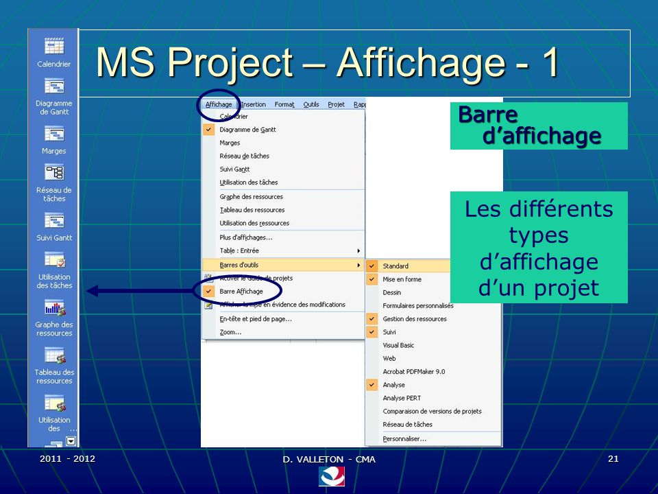 MS Project – Affichage - 1