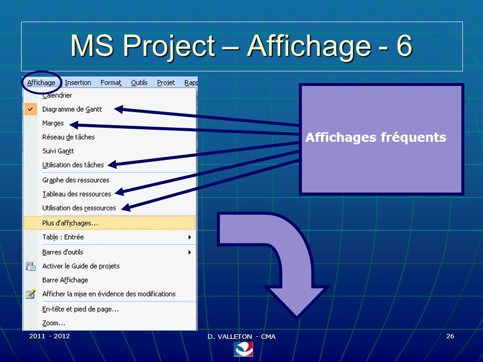 MS Project – Affichage - 6