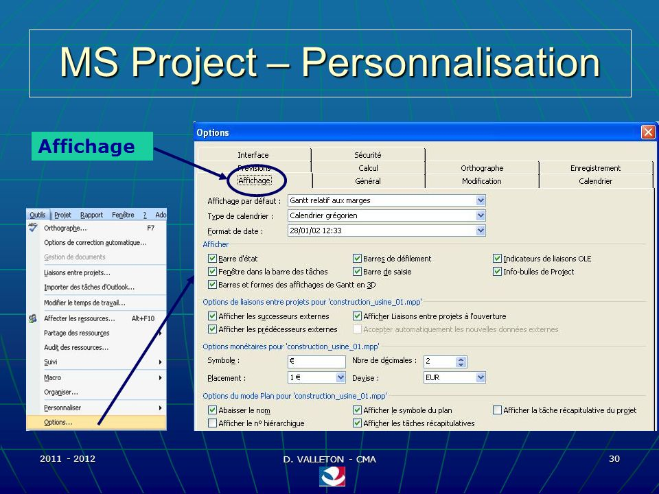 MS Project – Personnalisation
