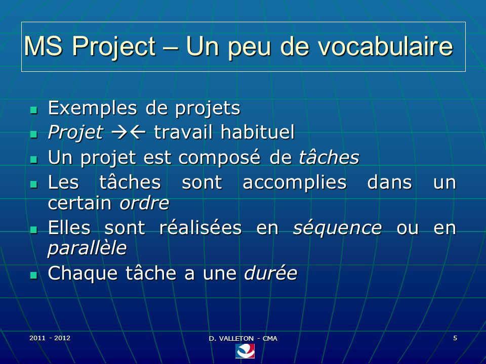 MS Project – Un peu de vocabulaire