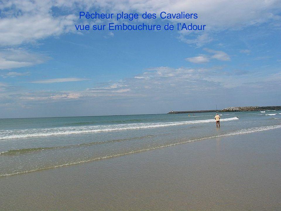 Pêcheur plage des Cavaliers vue sur Embouchure de l'Adour