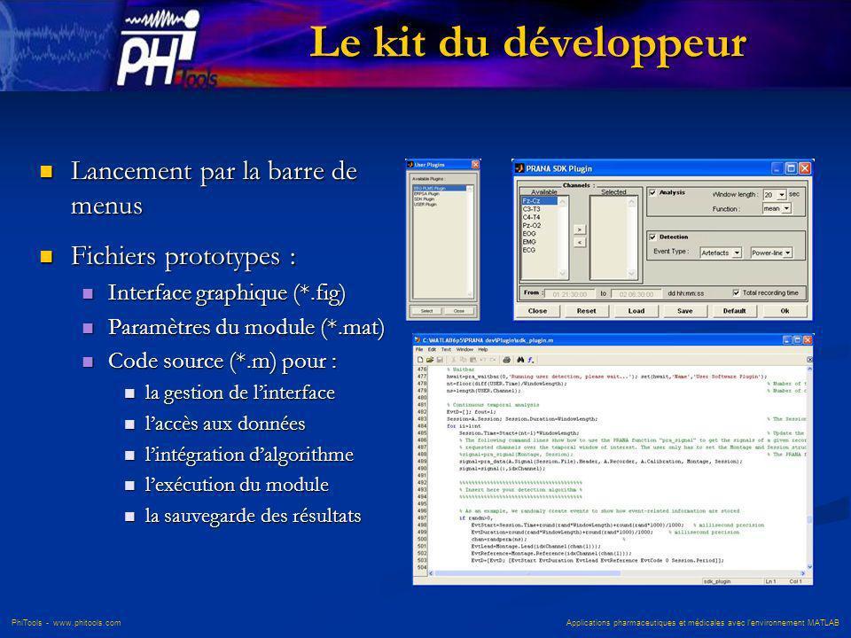 Le kit du développeur Lancement par la barre de menus