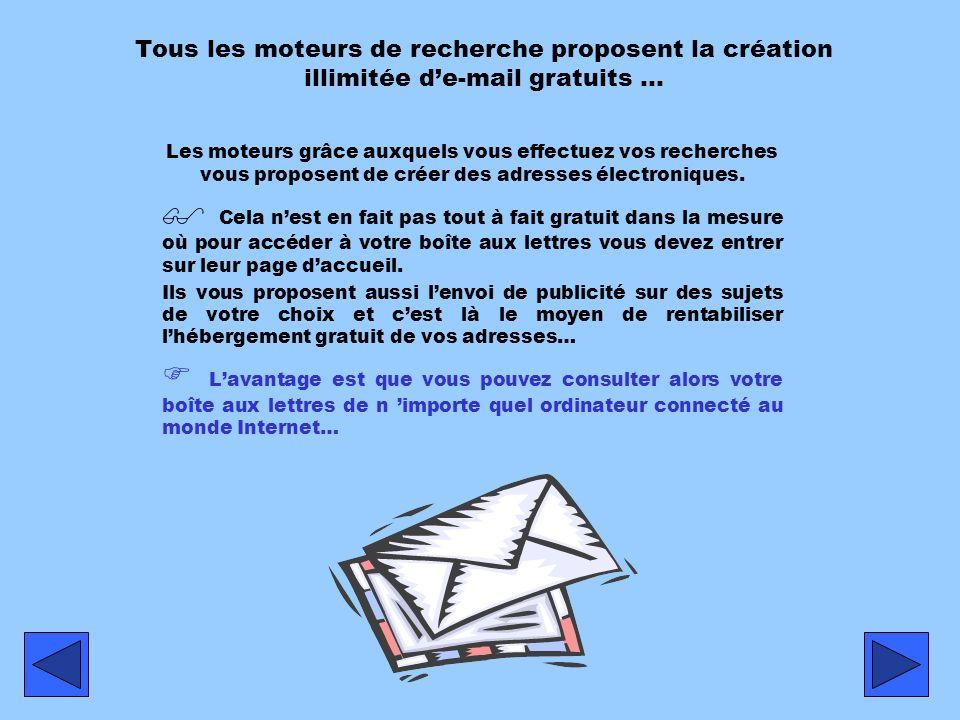 Tous les moteurs de recherche proposent la création illimitée d'e-mail gratuits …