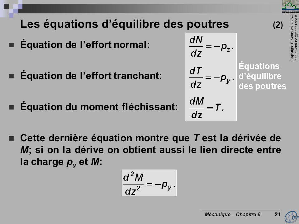Les équations d'équilibre des poutres (2)