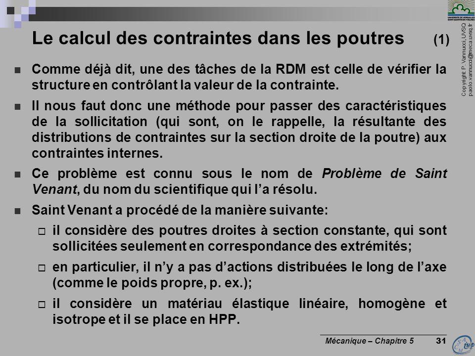 Le calcul des contraintes dans les poutres (1)
