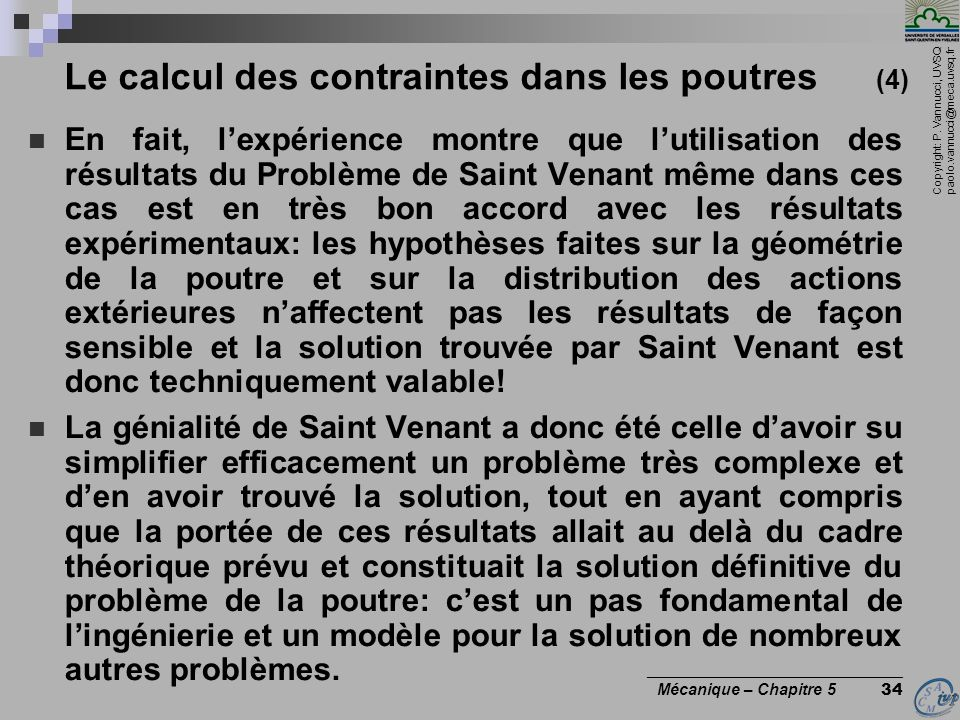 Le calcul des contraintes dans les poutres (4)