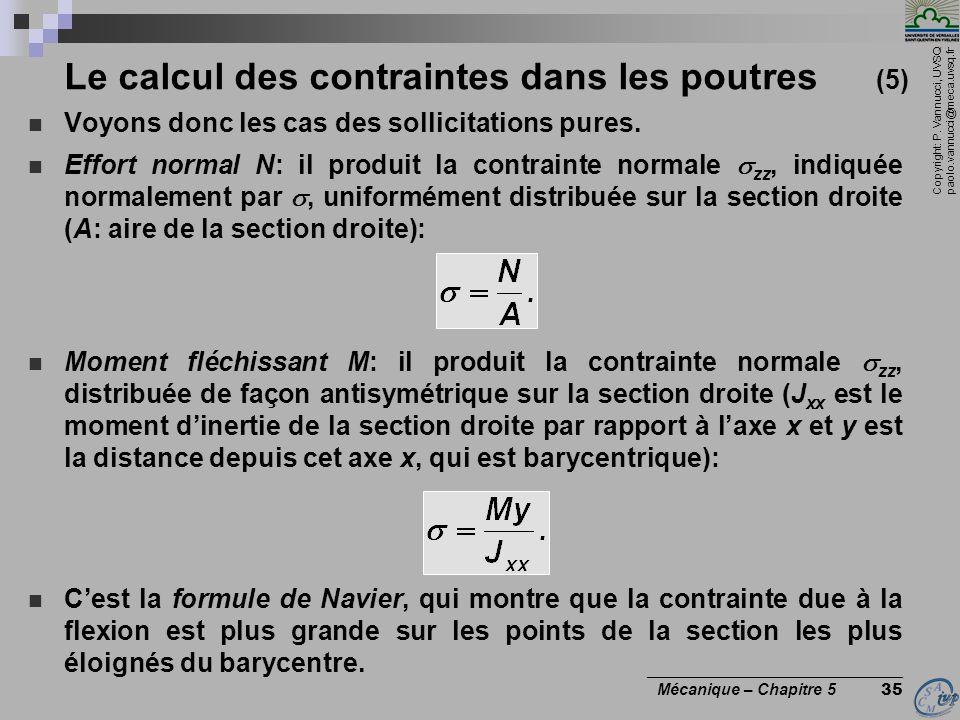 Le calcul des contraintes dans les poutres (5)