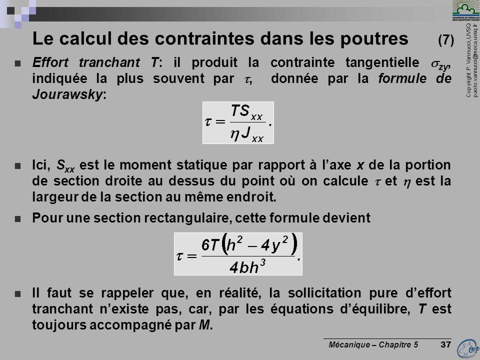Le calcul des contraintes dans les poutres (7)