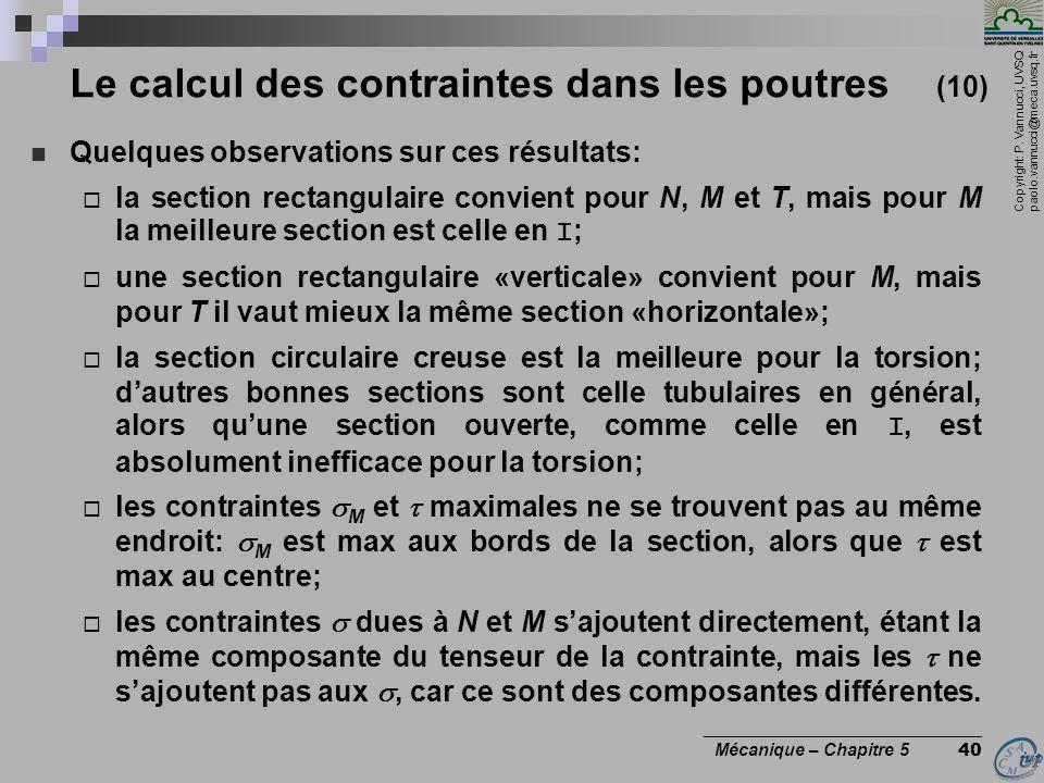 Le calcul des contraintes dans les poutres (10)