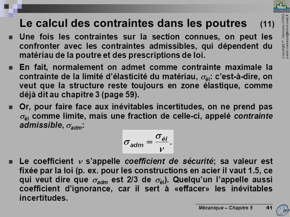 Le calcul des contraintes dans les poutres (11)