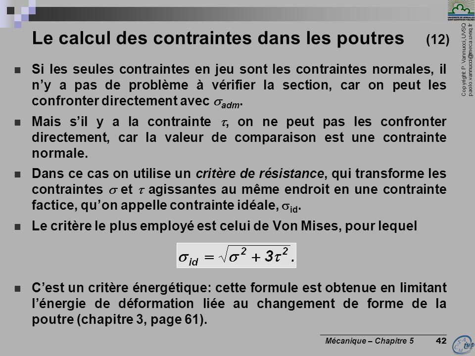 Le calcul des contraintes dans les poutres (12)