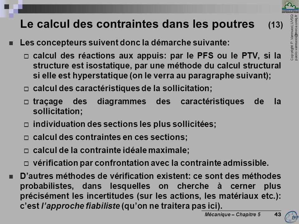 Le calcul des contraintes dans les poutres (13)