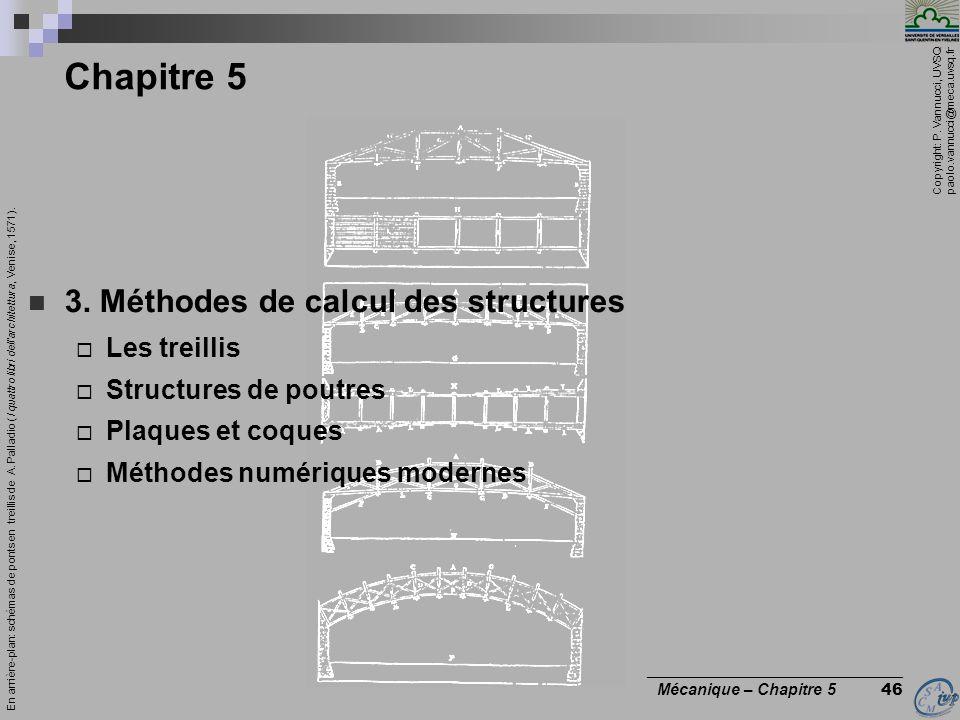 Chapitre 5 3. Méthodes de calcul des structures Les treillis