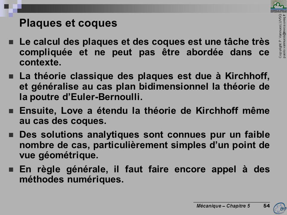 Plaques et coques Le calcul des plaques et des coques est une tâche très compliquée et ne peut pas être abordée dans ce contexte.