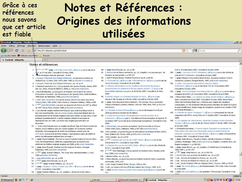 Notes et Références : Origines des informations utilisées